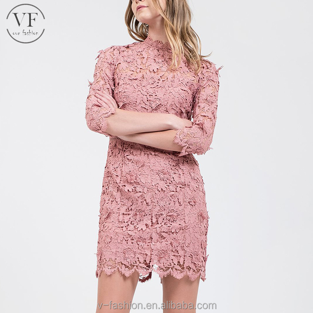 High quality pink 100%polyester elegant lace dress for women