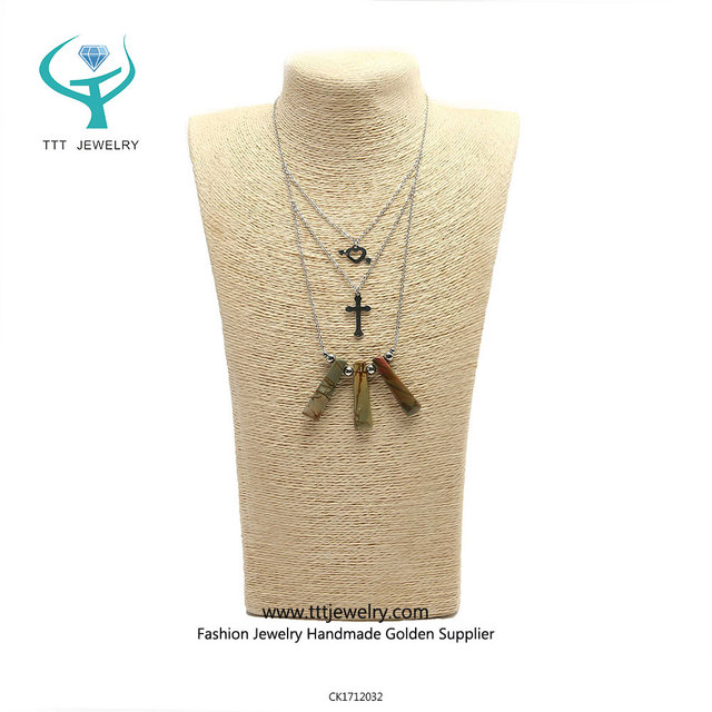 Fashion Modern Stainless Steel Picasso Arrow and Cross Pendant Necklace Chain Unisex
