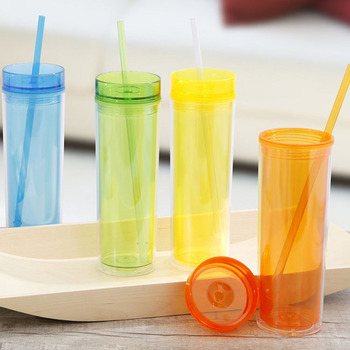 16oz double wall plastic mug with Straw