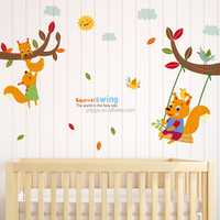 Personalized hot sales eco-friendly PVC dormitory bedroom bedside decorative squirrel swing animal removable wall stickers