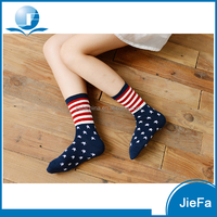 customized women's American British flags pattern design cotton nylon polyester anklet socks