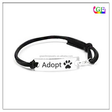 Custom logo words dog paw adopt black Woven Bracelet