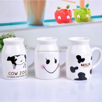 2014 creative design cute cow ceramic milk cup ,gift cup for breakfast