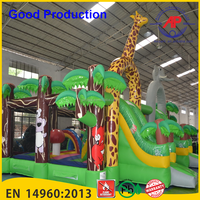 Guangzhou Airpark children indoor playground inflatable spider combo bouncer and slide