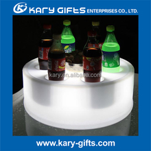 Round shape LED plastic bar tray flashing remote control serving tray