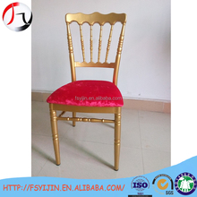 Red cushion stacking chair for hotel supply