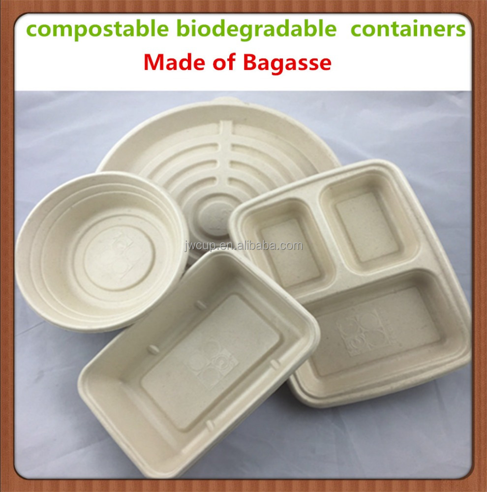 100% high quality compostable biodegradable bagasse fast food tarys/ containers/boxes for food packaging