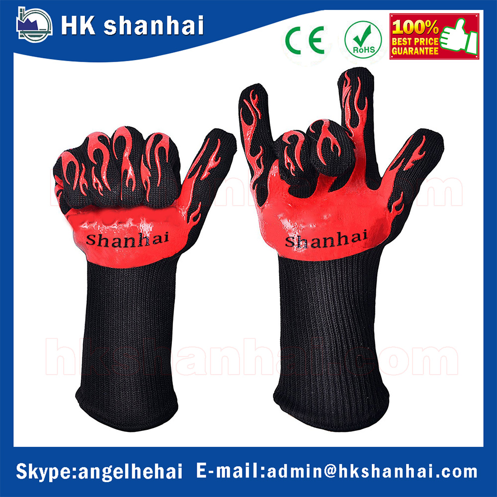 2016 hot sale Food Grade Grilling BBQ Gloves 932F Heat Resistant Cooking Oven Gloves