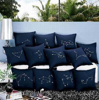 Dark blue embroidery constellation cushion,star embroidery cushion