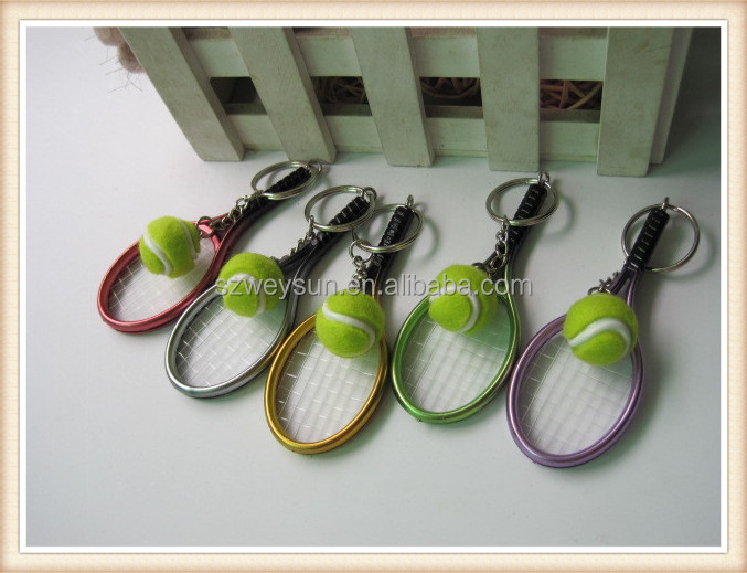 Cute Sport Mini Tennis Racket Pendant Keychain Keyring Key Chain Ring Finder Holer Accessories Gifts for Teenager Fan