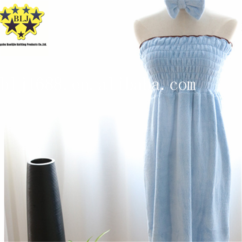 Blue And White Stripe Color Microfiber Elastic Belly Band Tube Top Pajamas Sexy Bathrobe Made In China