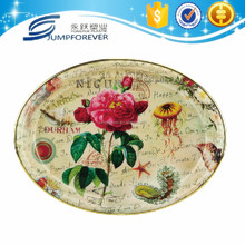 Middle Size Hot selling custom flower printing Cheap Oval Plastic Plate Serving Tray,Decorative dry fruit tray