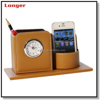 Mulfunctional Desk PU Leather Pen Container Pen Case with clock