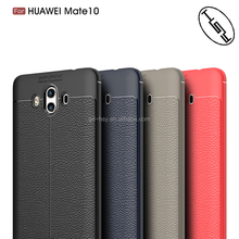 For Huawei Mate 10 Hot selling Back Cover Soft Case Lychee Stripe Brushed Carbon Fiber Leather TPU Case for Huawei Mate 10