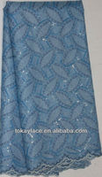 2013 new design wholesale sky blue high quality African organza lace fabric with sequins for wedding and party