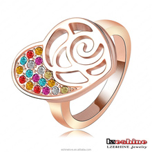 LZESHINE Alibaba Express Gold Jewelry 18K Rose Gold Plated Multicolour Heart Ring Austrian Crystal Ri-HQ1056-A