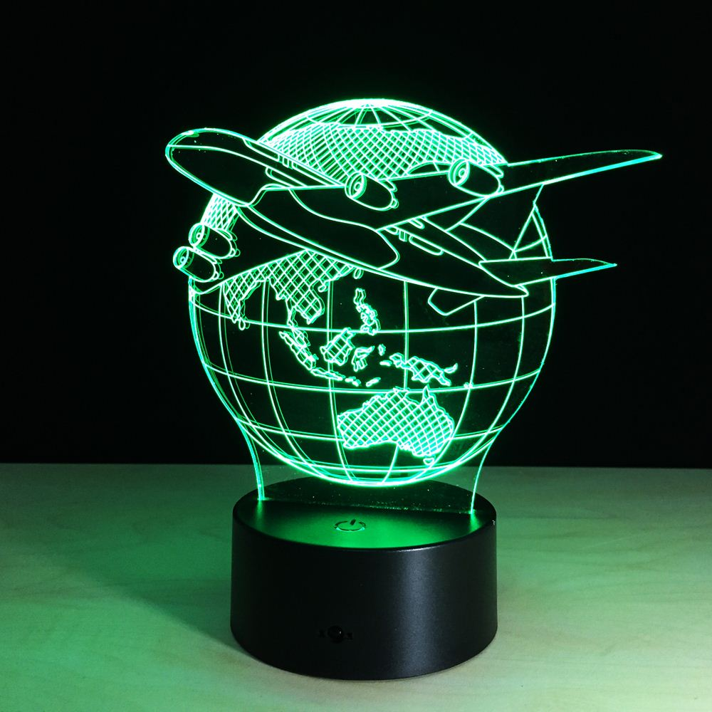 Fly the World Earth Globe Airplane 3D LED Lamp Art Sculpture Lights in Colors 3D Optical Illusion Lamp with Touch Button G131