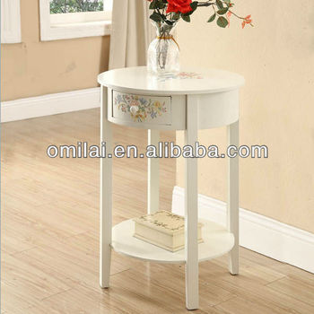 Little compact round table with drawers and storage board