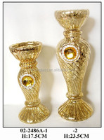 Gold shaped glass candle holder ornaments