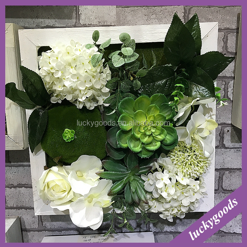 white hydrangea and orchid artificial flower photo frame for wall decoration