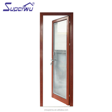 80 micron powder coated energy saving Wood Grain Finish Aluminum Profile sound insulation tempered glass swing door