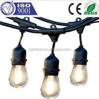 Decoration warm white 54 Feet Black Outdoor Patio power code S14 Globe Bulbs string lights for event decoration