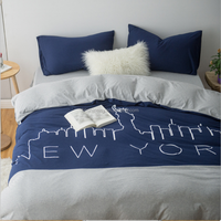 2016 best fashion queen size 100% cotton 4pcs bedding sets knitted jersey duvet cover set