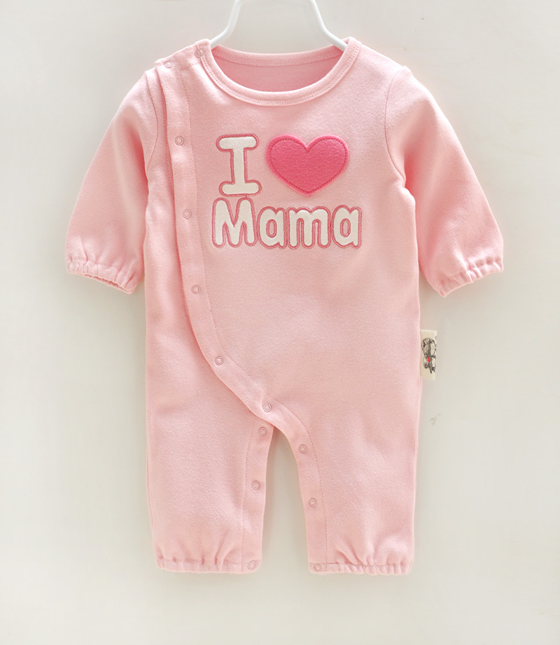 P0162 cute baby boy clothes online letter I LOVE PAPA MAMA discount designer baby clothes