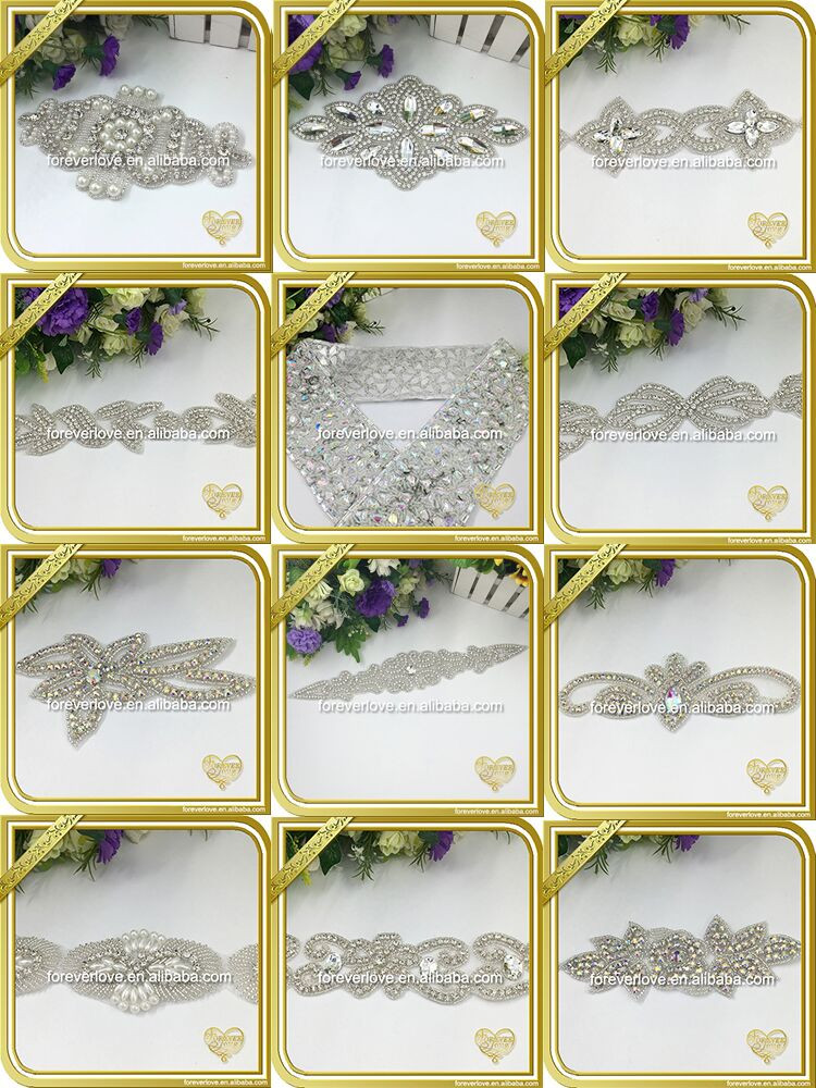 custom wholesale sequin applique bridal rhonestone applique FRA-075