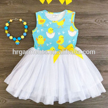 Children clothes kid summer sleeveless chicken dress new design lace tutu beautiful wholesale