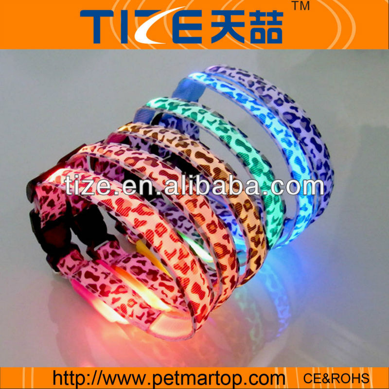 led flashing dog collar TZ-PET3100 metal buckles for dog collars