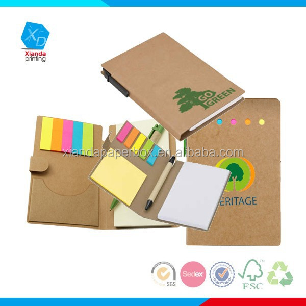 Cheap Custom logo printed Office Spiral Binding Memo Pad with pen set/note pad