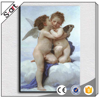 Handmade child angel canvas oil painting