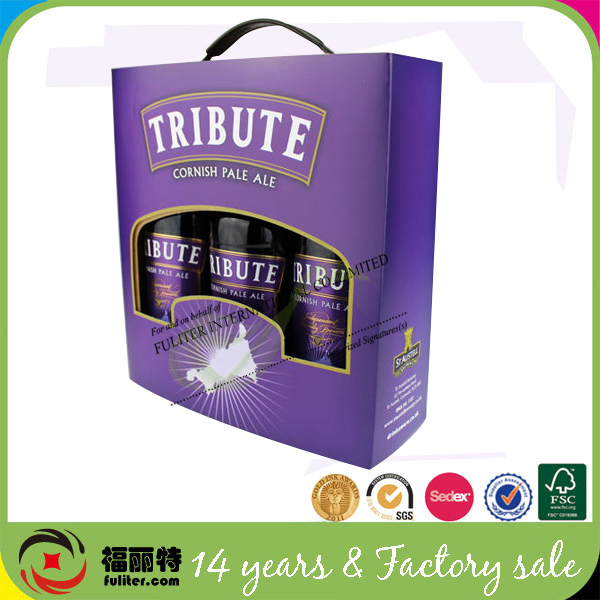 Luxury 3 bottles storage paper decorate box with window
