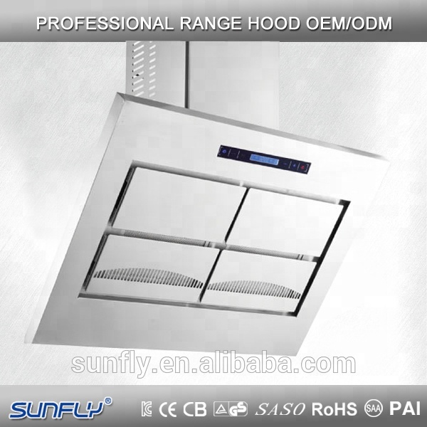 Full stainless steel wall mounted range hood with finger touch
