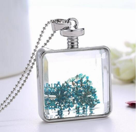 Dried Flower Gold Silver Square Glass Locket Necklace