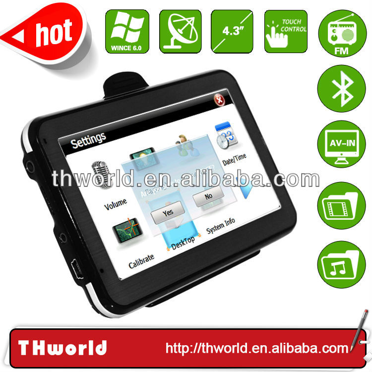 factory bottom price 4.3 inch Pakistan map sat nav device with 800MHz CPU