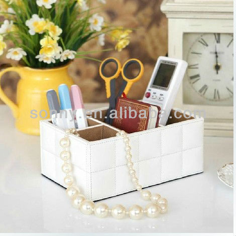 Leatherette handicraft multifunction desk organizer
