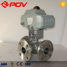Motorized On/off type DC24V DC12V three way ball valve