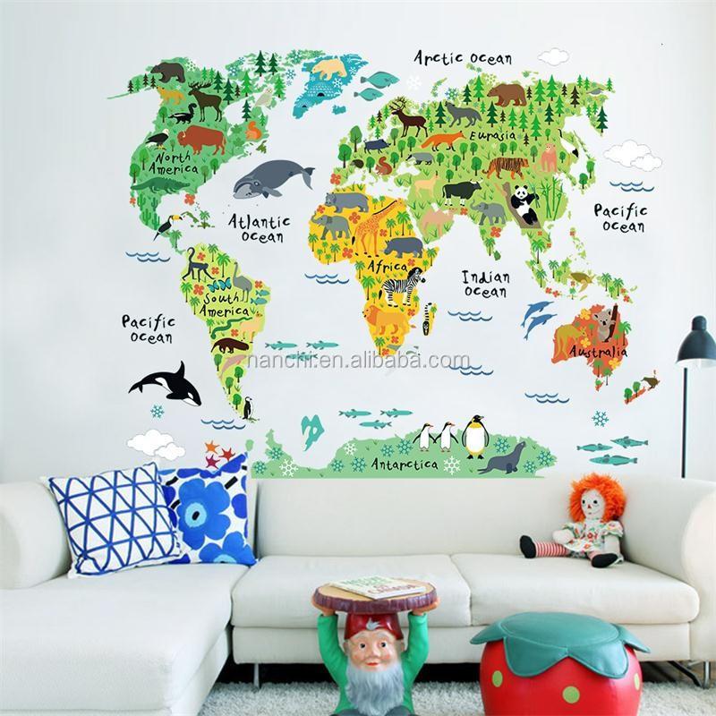 최신 만화 동물 세계지도 홈 데칼 벽 스티커 아이 방 아기 보육 ...