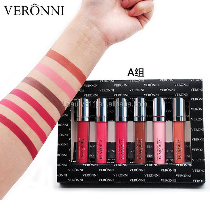 OEM 6pcs Long lasting Waterproof Makeup Matt Lip gloss/Lipstick gift set