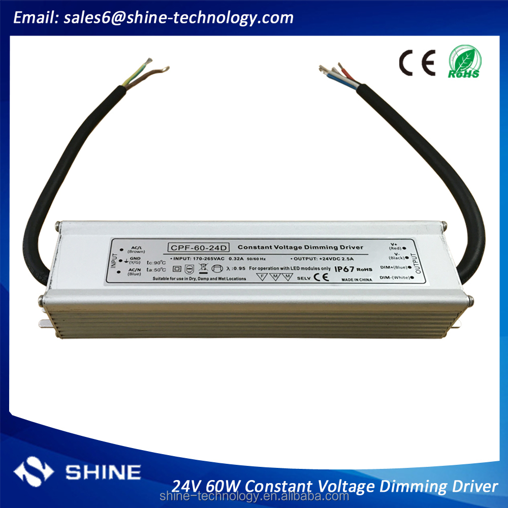 220v 230v ac input 24v dc 60w 2.5A output adjustable voltage led driver, waterproof ip67 dimmable power supplies 0-24vdc