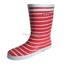 2014 New style fashion red stripes ankle short cylinder rubber rain boots