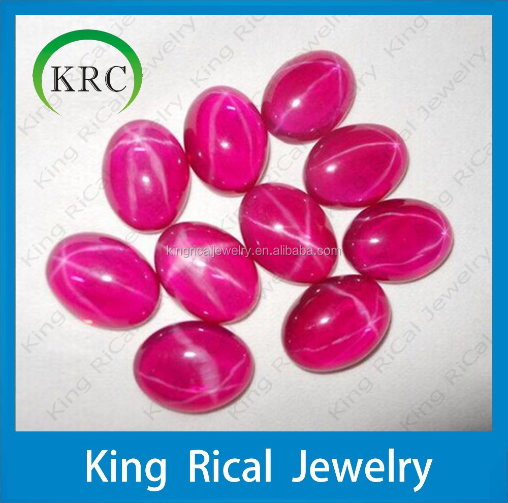 Synthetic Red Star Ruby Oval Cabochon Corundum Loose Gemstone