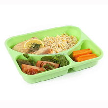 Plastic 3 Compartment Bento Lunch Box with Multi-colour Lid 3 Divided Food Storage Container for Adults and Kids