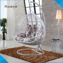 Factory direct sale double seat PE rattan metal frame white color indoor swingasan patio hanging jhula pod chair outdoor
