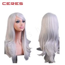 "28 ""Lace Front Women's Hair Wig Natural Big Wavy Silver White Wigs for Cosplay Party Costume"