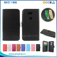 Newest product Litchi grain pu wallet case leather cover for Huawei mate 7 mini , for huawei mate 7 mini case