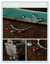 China original silver anklets designs product handmade wholesale agate anklet female models