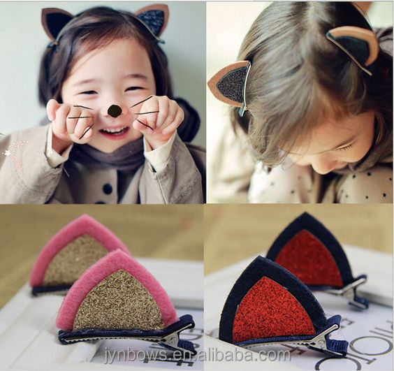 2pcs Girls <strong>Hair</strong> Clips Baby Kids Cat Ear <strong>Hair</strong> <strong>Accessories</strong>